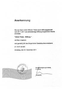 Anerkennung durch die Bezirksregierung Arnsberg